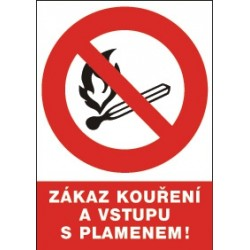 Zákaz kouření a vstupu s plamenem!