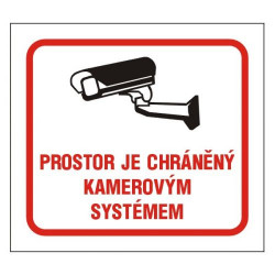 Prostor je chráněný kamerovým systémem - samolepka 10*9 cm