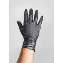 Jednorázové rukavice nitrilové s terčíky černé/oranžové balené 10ks/2ks