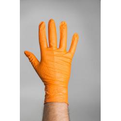 rukavice Nitril grip s terčíky HM - oranžové
